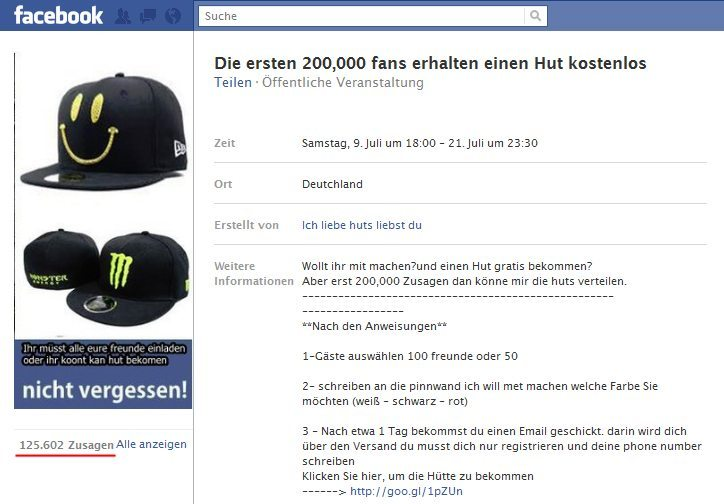 facebook spam verbreitet sich ber facebook events futurebiz. Black Bedroom Furniture Sets. Home Design Ideas