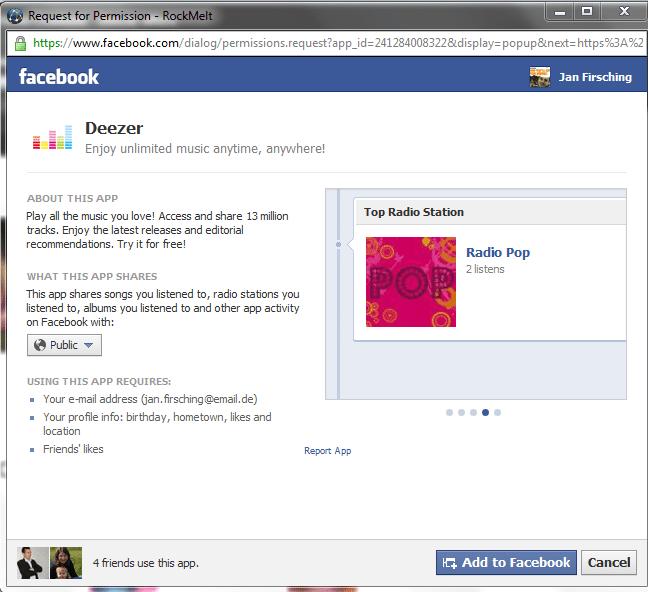 facebook music  open graph app deezer in deutschland