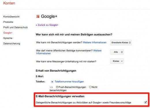 Google+ Einstellungen für Email-Zusammenfassungen