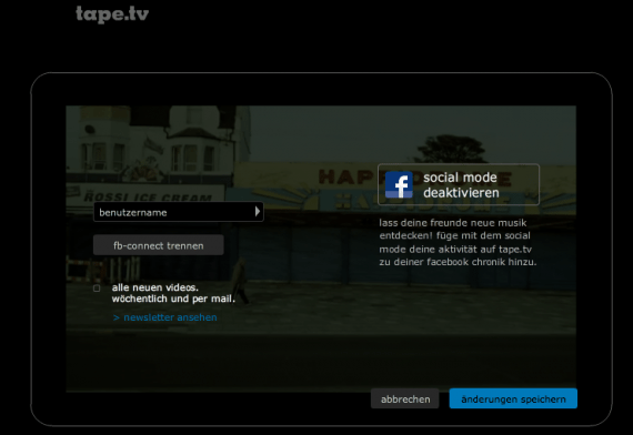 Facebook Open Graph App von tape.tv