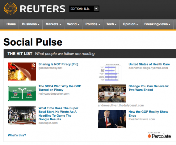 Social Media Hub von Reuters