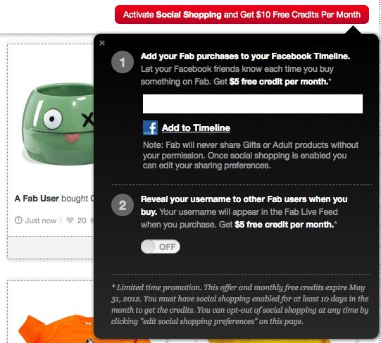 Fab.com belohnt Nutzer für Aktivierung der Open Graph App