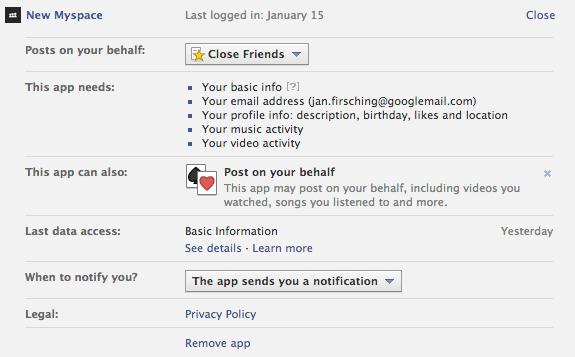New MySpace - Facebook Login