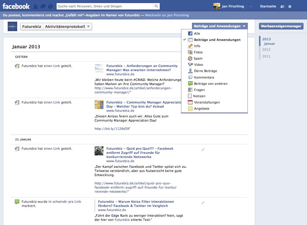 Facebook Aktivitätenprotokoll Seiten