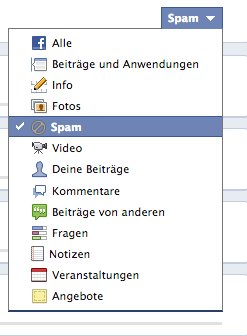Facebook aktivitätenprotokoll Spam-Markierungen
