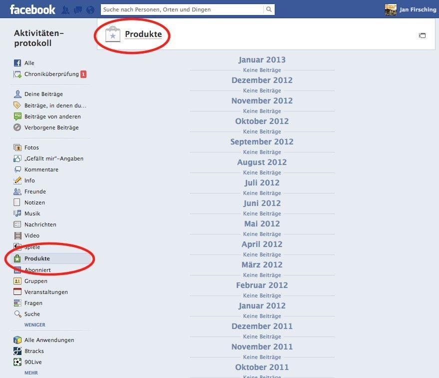Facebook Produkte