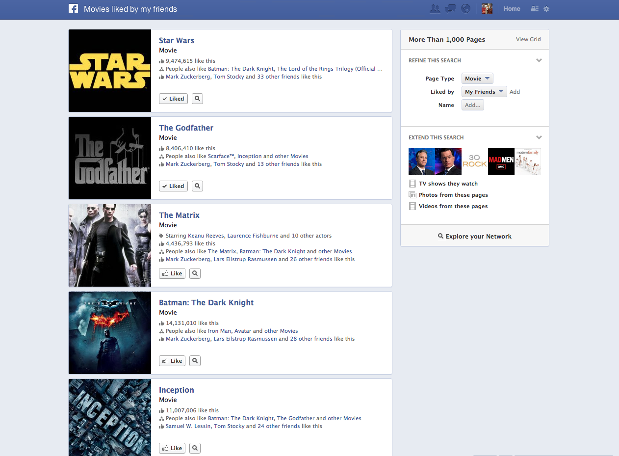 Facebook Graph Search - -MoviesMyFriendsLike