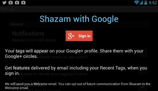 Google+ Log-In Shazam