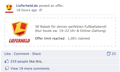 Facebook Angebot - Lieferheld