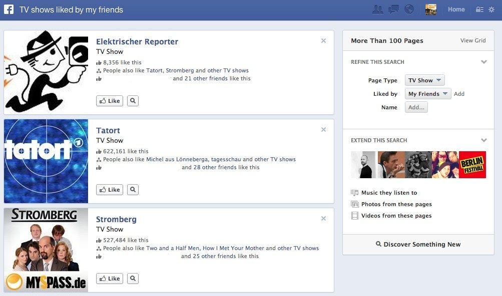 Facebook GraphSearch Social TV