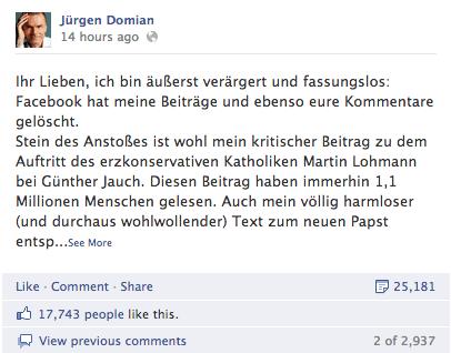 Facebook Jürgen Domian
