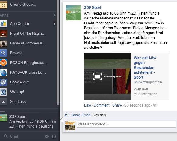 Facebook Ticker - Neues Newsfeed Design