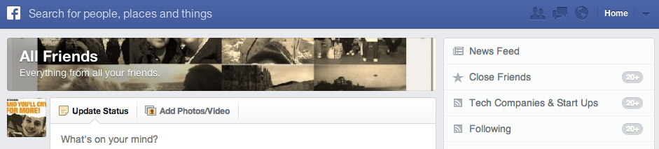 Facebook Newsfeed All Friends