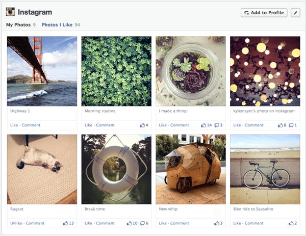 Facebook Chronik - Darstellung Apps