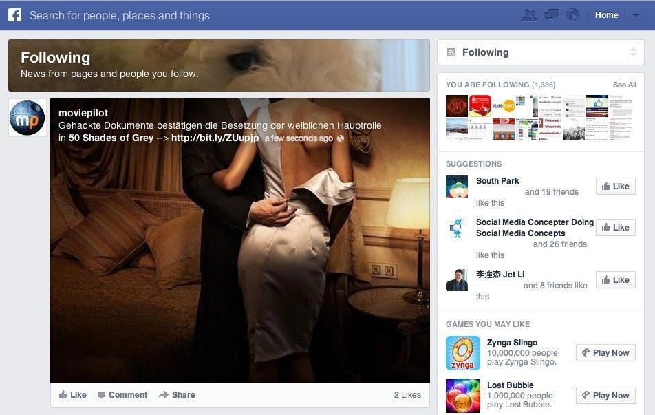 Facebook Following Feed