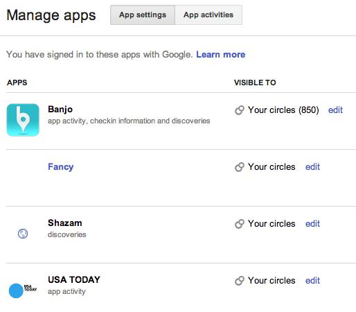 Google+ Login - Anwendungen verwalten