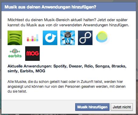 Redesign Facebook Chronik - Anwendungen hinzufügen