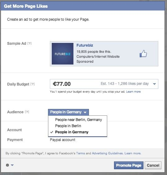 Get more Facebook page Likes