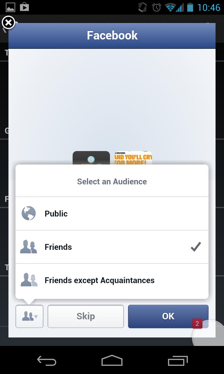 Facebook Mobile Permission Dialog - Privatsphäre