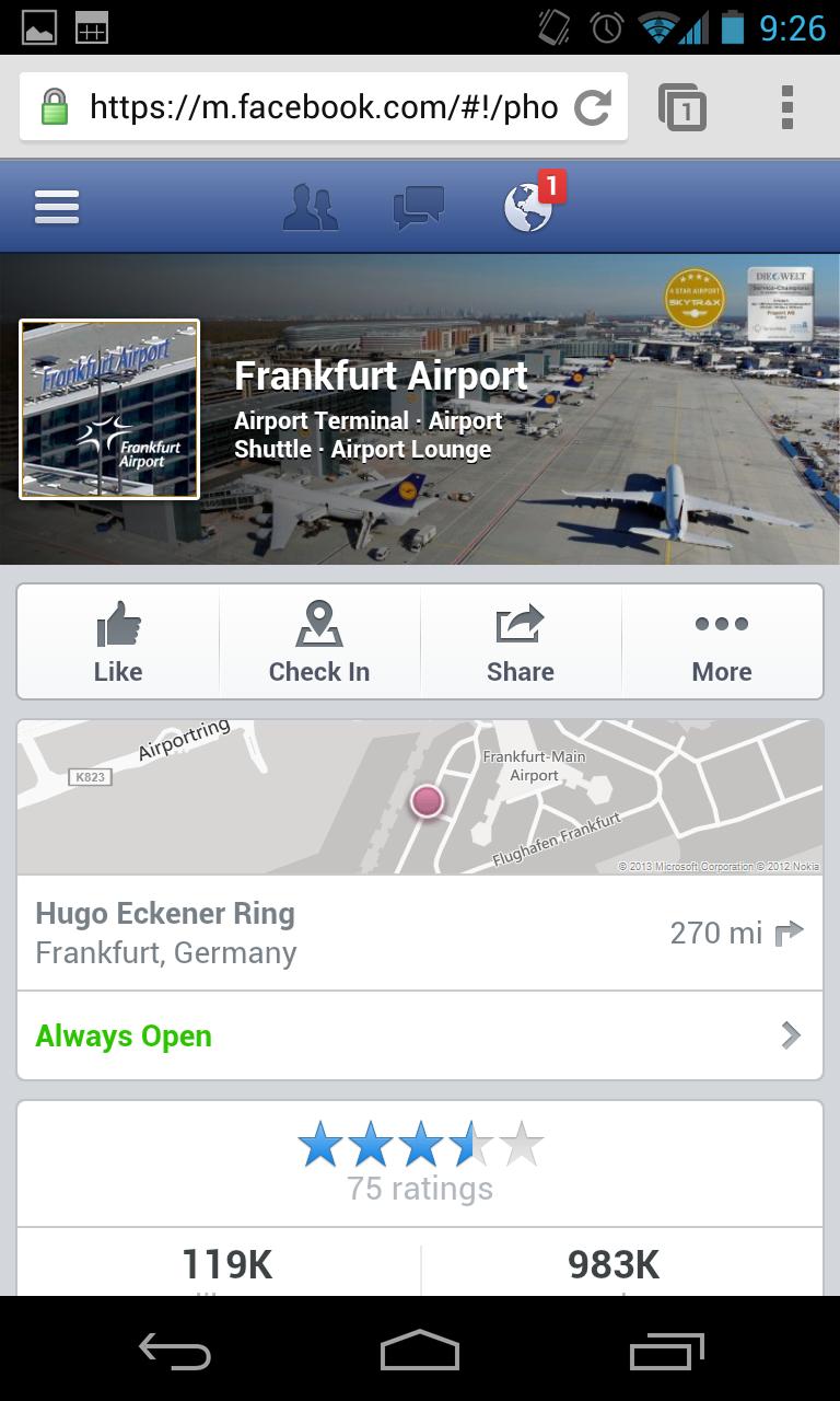 Facebook Mobile - Design Seiten (Orte)