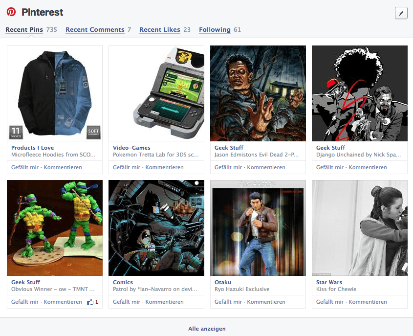 Facebook Chronik - Bereiche Apps Pinterest