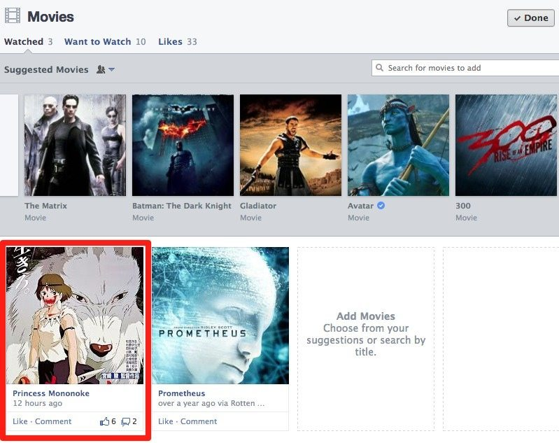 Facebook Aktivitäten - Chronik