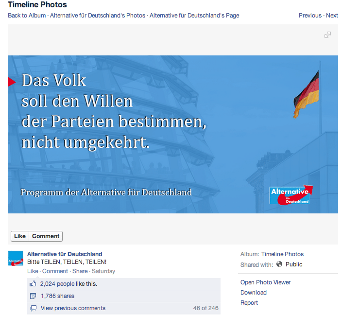 Alternative für Deutschland - Facebook Interaktion