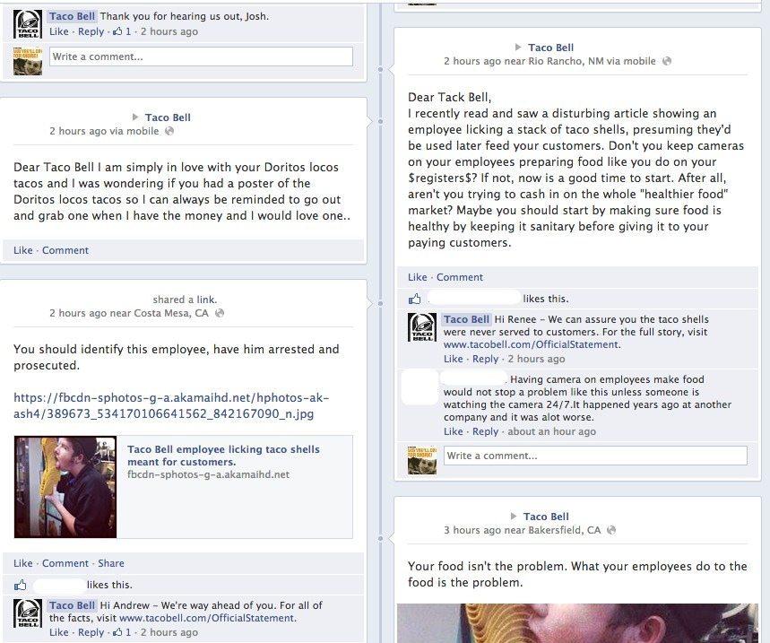 Taco Bell - Reaktion Facebook