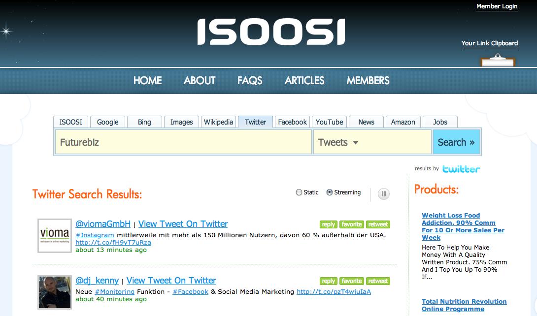 Soziale Suchmaschine ISOOSI