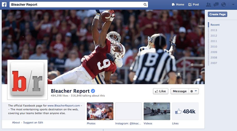 Facebook Referral Traffic - Bleacher Report