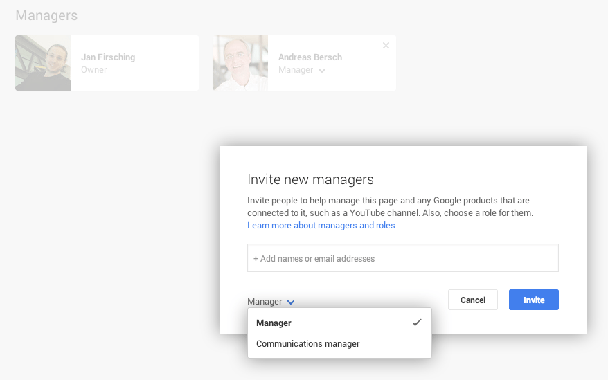 Google+ Seiten Administratoren