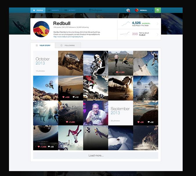 Instagram Webansicht - Designstudie für Unternehmen