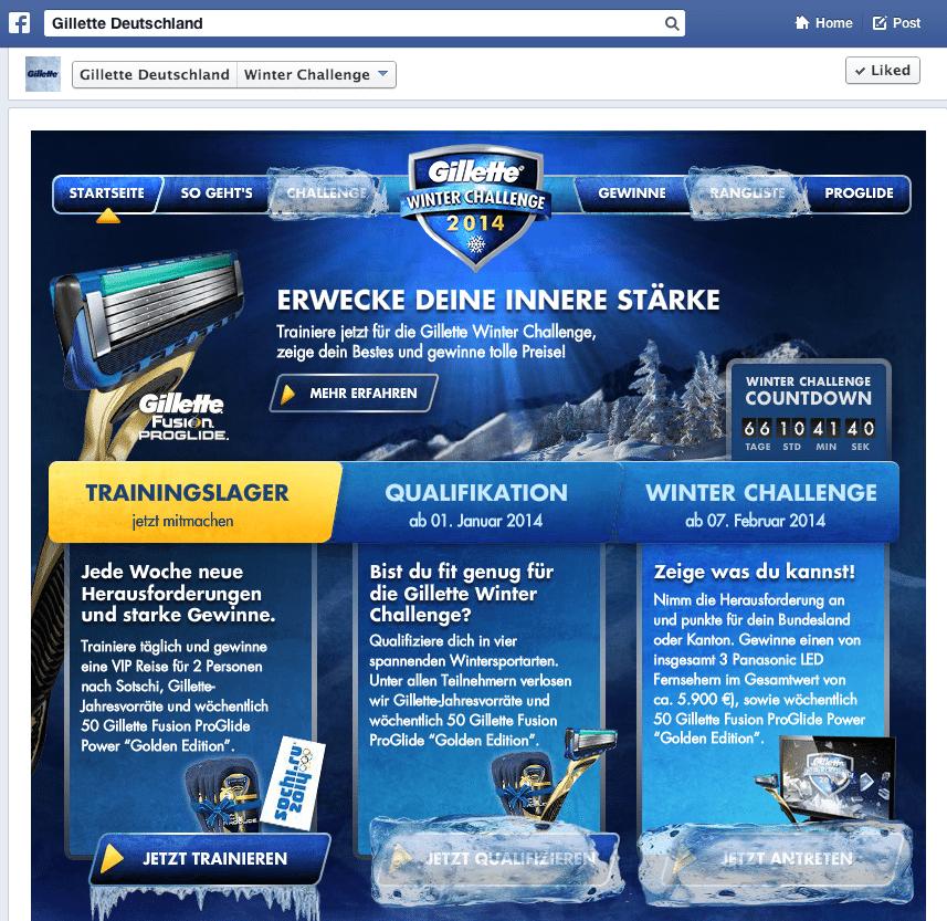 Deutsche Facebook Kampagen - Gillette Deutschland Winter Challenge