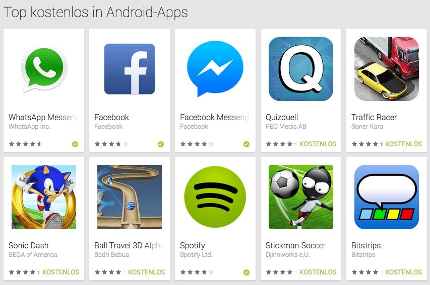 Facebook Messenger App -Charts Google Play Store