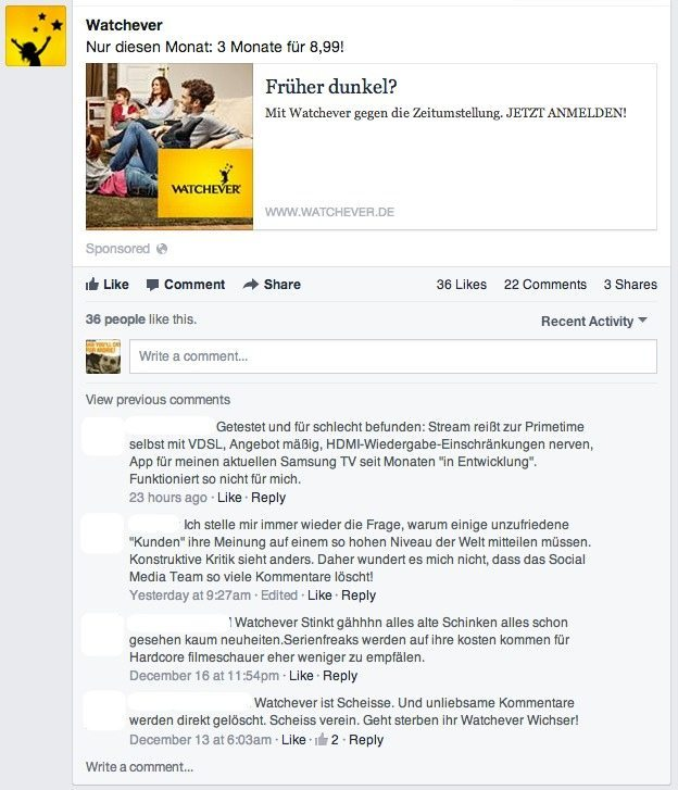 Facebook Community Management - Watchever
