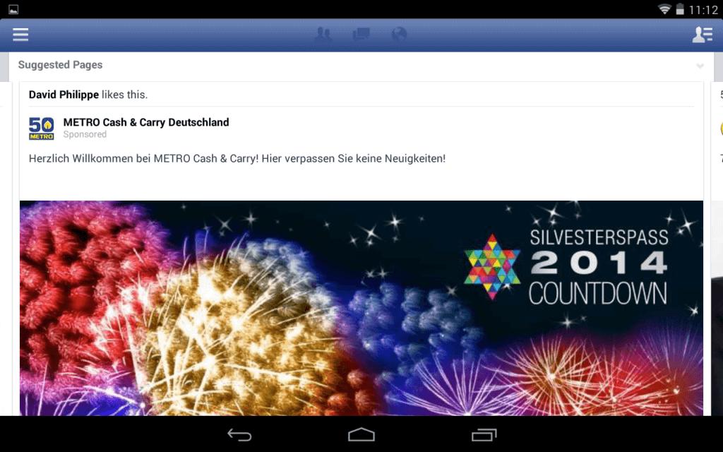 Facebook Mobile Anzeigen News Feed - Beispiel zweite Position