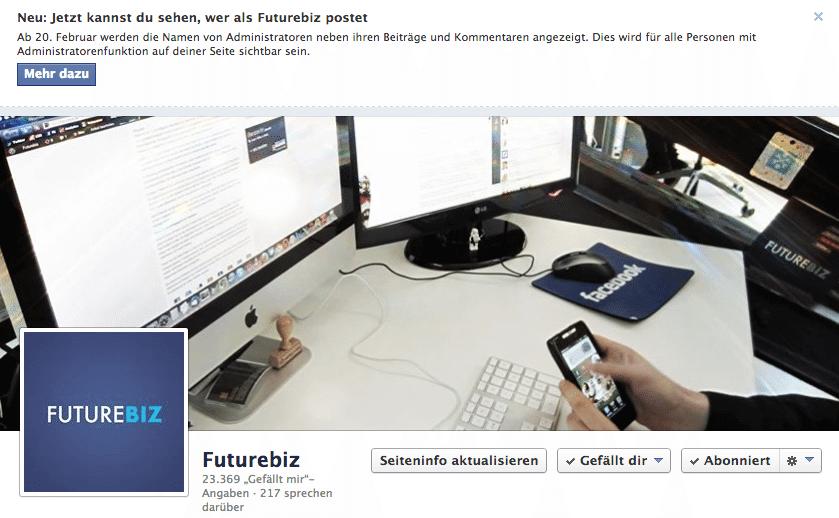 Facebook Administratoren - Anzeige von Namen bei Beiträgen und Kommentaren