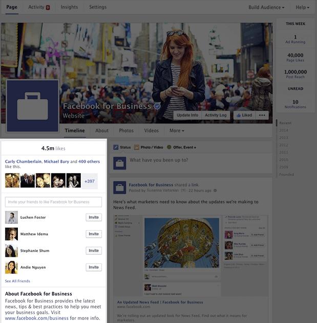 Neues Design Facebook Seiten 2014