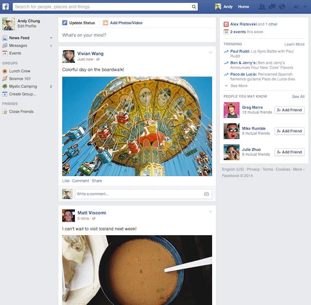 Neuer Facebook News Feed 2014