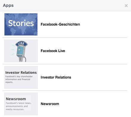 Darstellung Tabs - Facebook Seiten neues Design