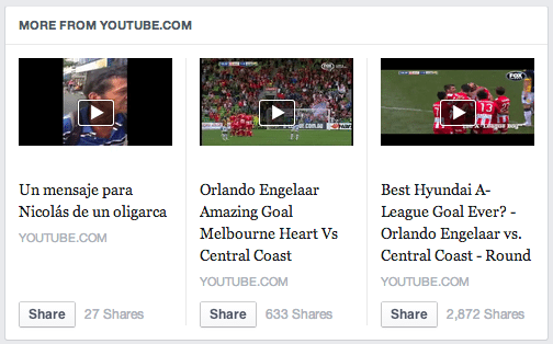 Facebook Content Discovery - YouTube Empfehlungen