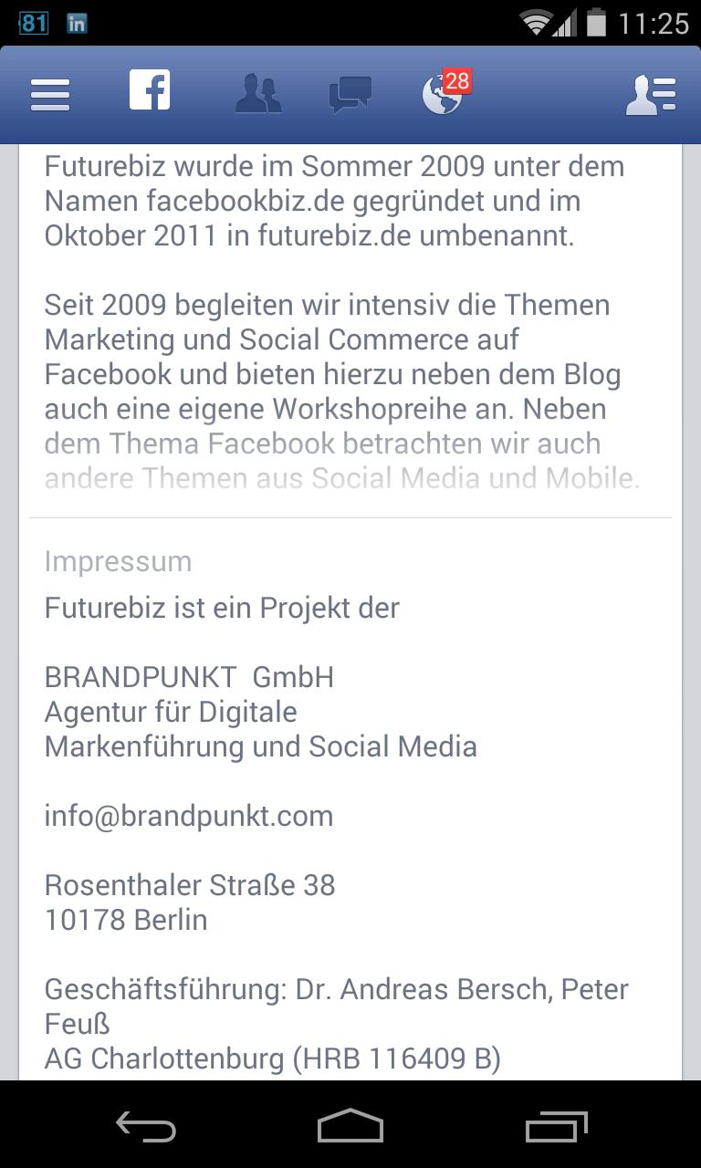 Facebook Seiten Impressum einrichten - mobile