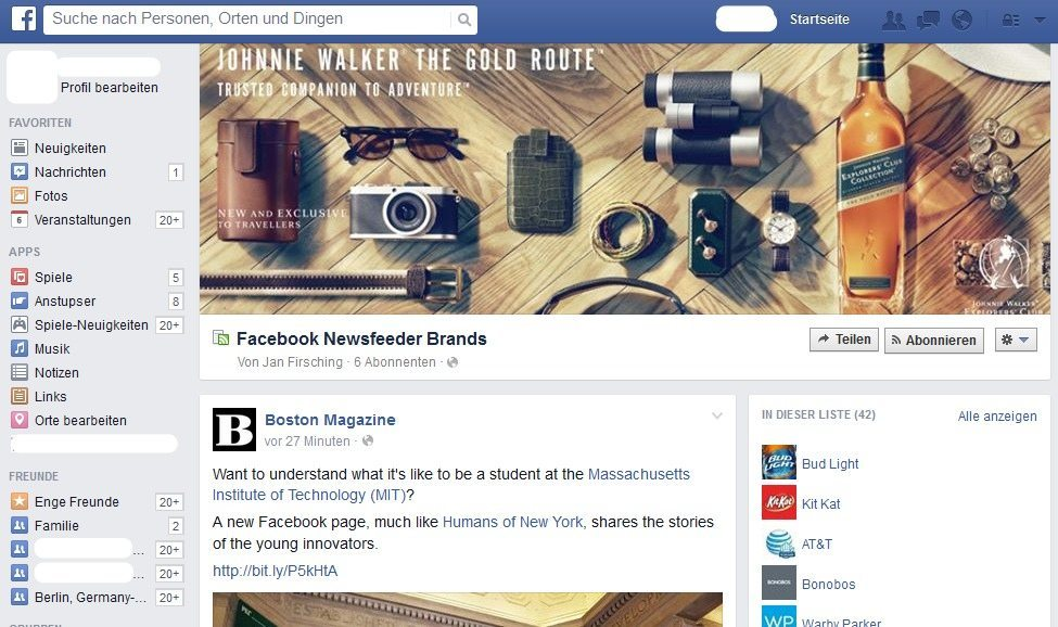 Test Neuer Facebook News Feed II