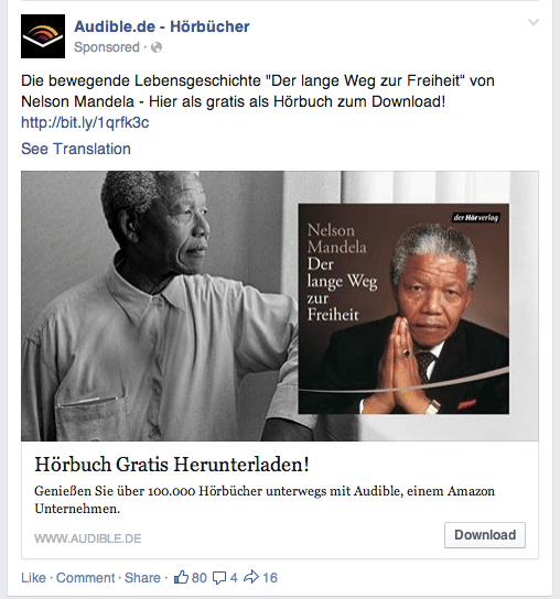 Facebook News Feed Anzeige Audible.de