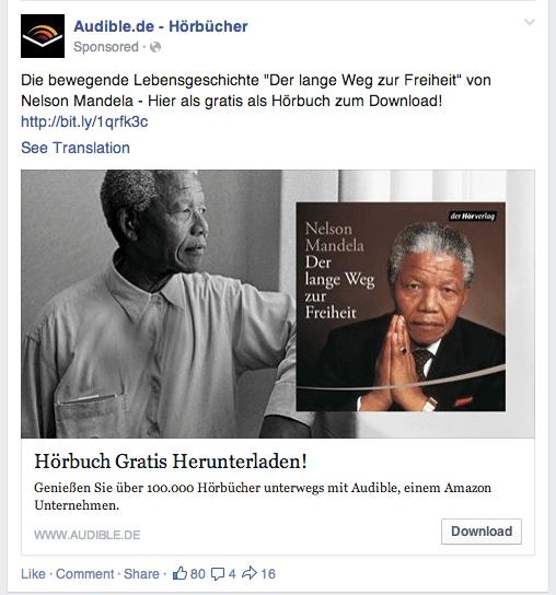 Facebook News Feed Anzeige Audible.de