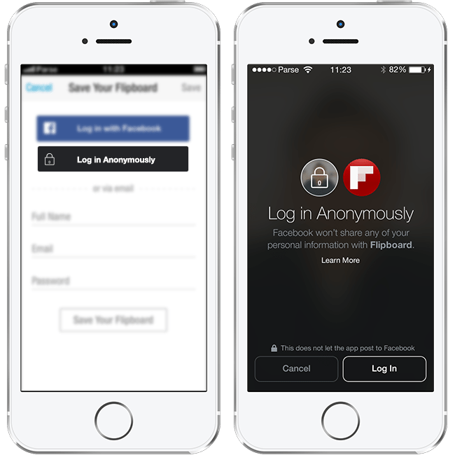 Neuer Facebook Login - Anonymer Login