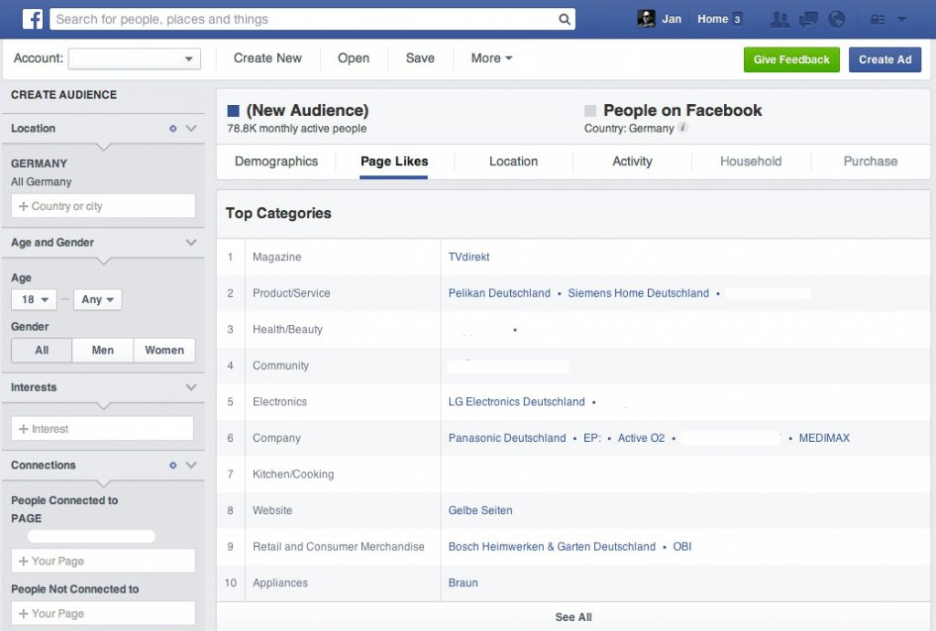 Facebook Audience Insights - Fans und Wettbewerber analysieren