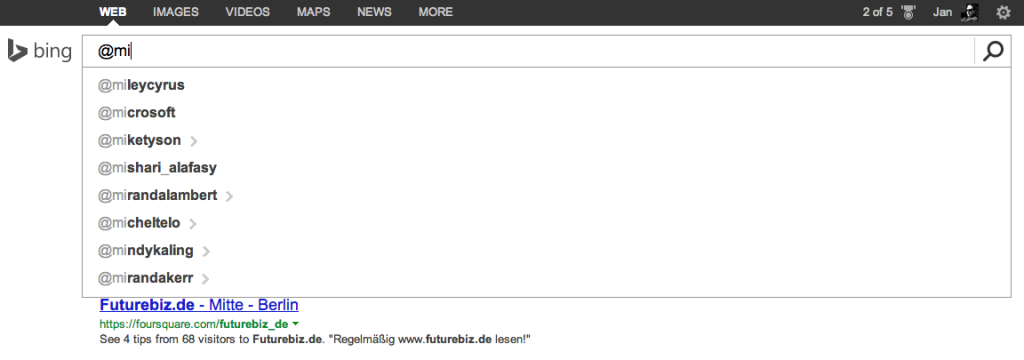 Bing - soziale Suchmaschine Twitter Integration
