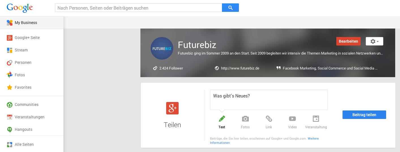Google+ My Business - Dashboard und Statistiken für Seiten