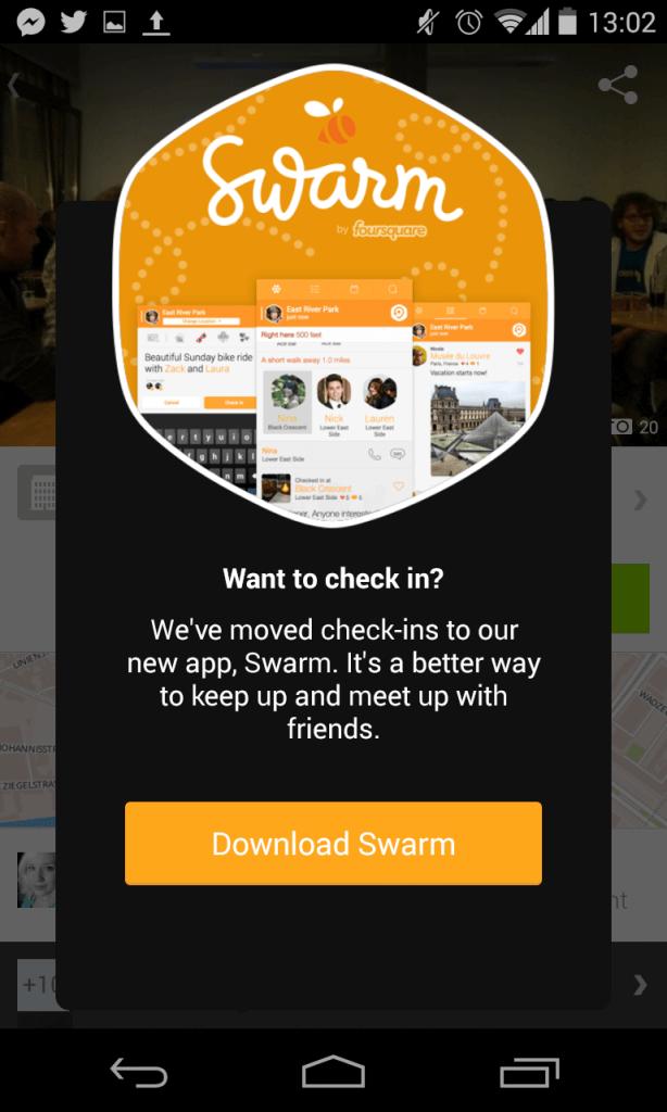 Foursquare - Hinweis für Swarm App